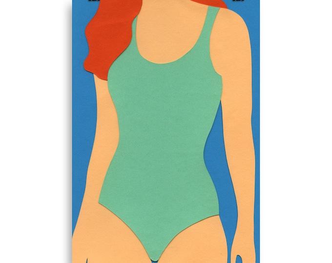 Poster Art Print Illustration – Turquoise Swimsuit Red Hair Rosi Feist