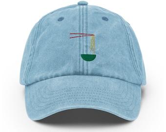 Unisex Vintage Style Cap / Dad Hat / Baseball Cap Embroidered Ramen Soup