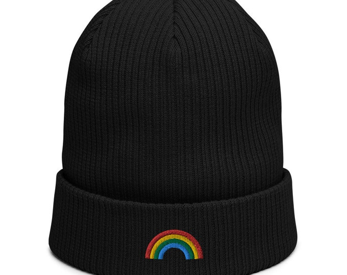Organic ribbed beanie embroidered with Rainbow