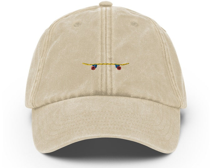 Vintage Style Dad Hat embroidered with Skateboard