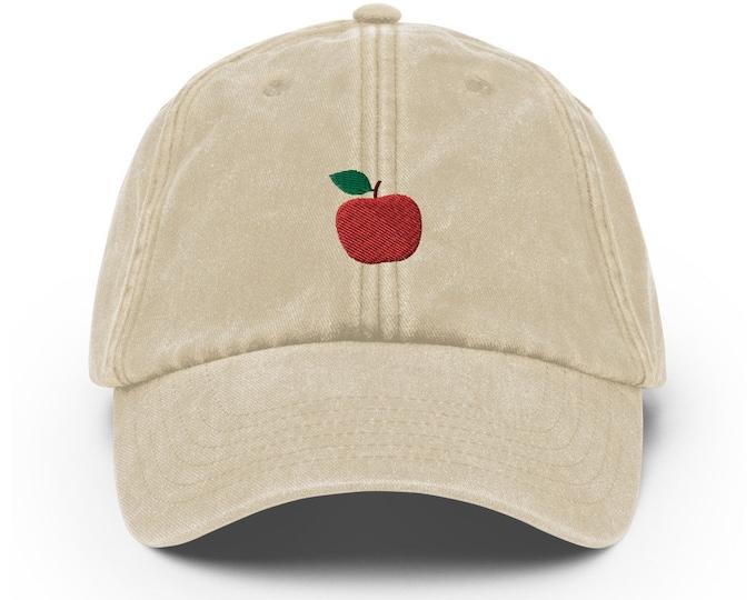 Unisex Vintage Style Cap / Dad Hat / Baseball Cap Embroidered Apple / Apple