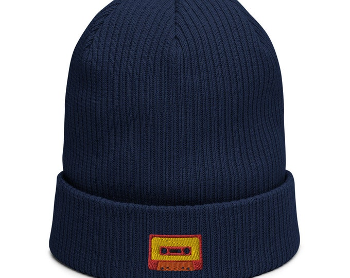 Organic ribbed beanie embroidered with Tape