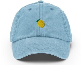 Unisex Vintage Style Cap / Dad Hat / Baseball Cap Embroidered Lemon / Lemon