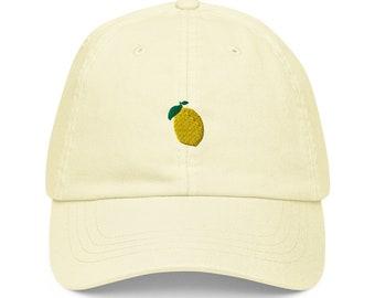 Unisex Dad Hat / Baseball Cap Pastel Embroidered with Lemon / Lemon