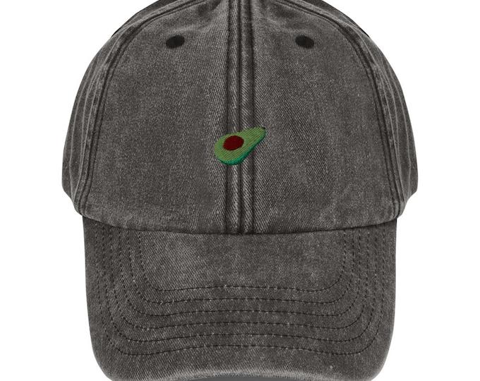Unisex Vintage Style Cap / Dad Hat / Baseball Cap Embroidered Avocado