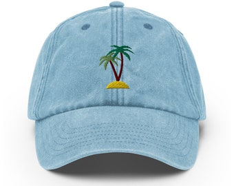 Unisex Vintage Style Cap / Dad Hat / Baseball Cap Embroidered with Palms / Palms