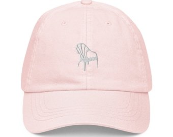 Unisex Dad Hat / Baseball Cap Pastel Embroidered with Plastic Chair / Plastic Chair
