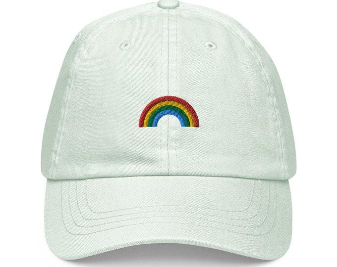 Unisex Dad Hat / Baseball Cap Pastel Embroidered with Rainbow / Rainbow