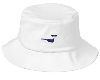 Old School Bucket Hat with embroidered Whale