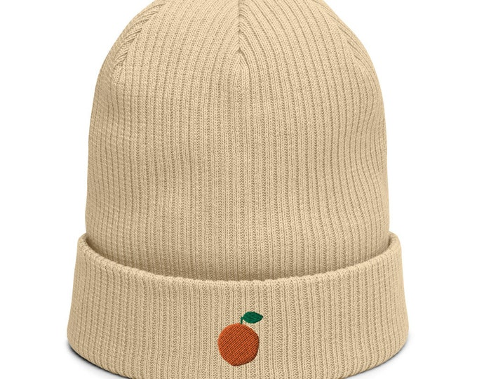 Organic ribbed beanie embroidered with Orange