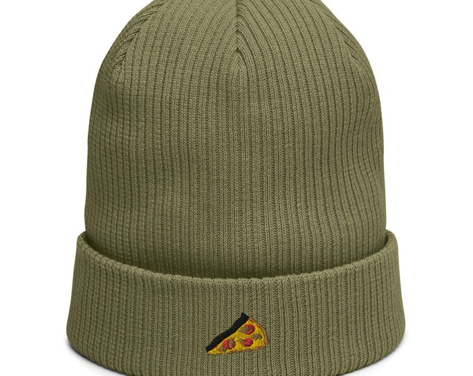 Organic ribbed beanie embroidered with Pizza Slice
