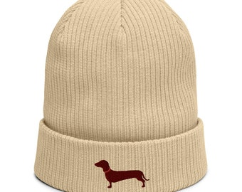 Organic ribbed beanie embroidered with Dachshund
