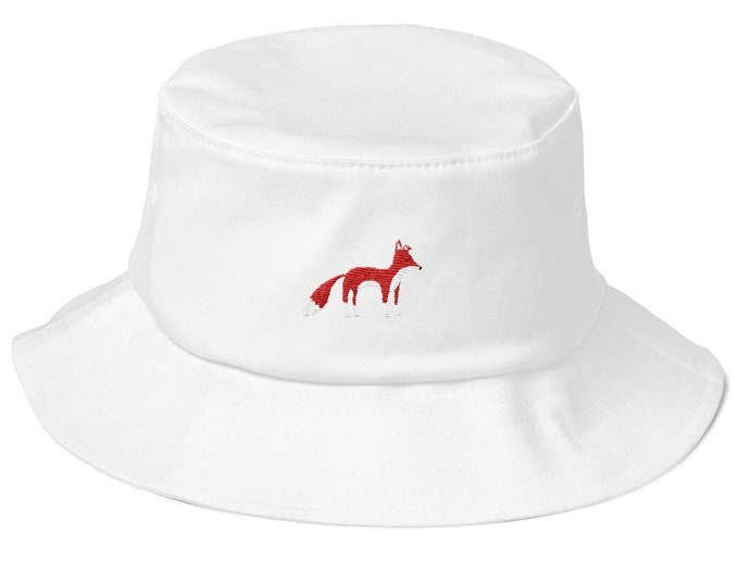 Old School Bucket Hat with embroidered Fox