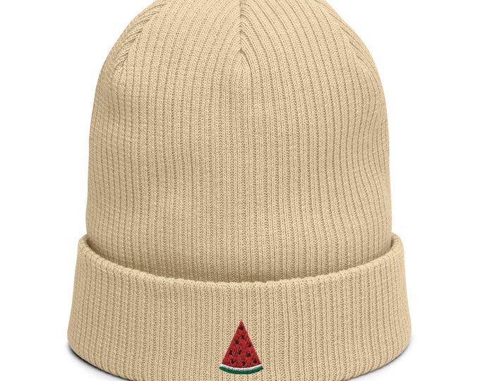 Organic ribbed beanie embroidered with Melon