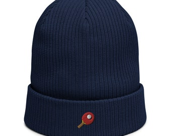 Organic ribbed beanie embroidered with Table Tennis Racket
