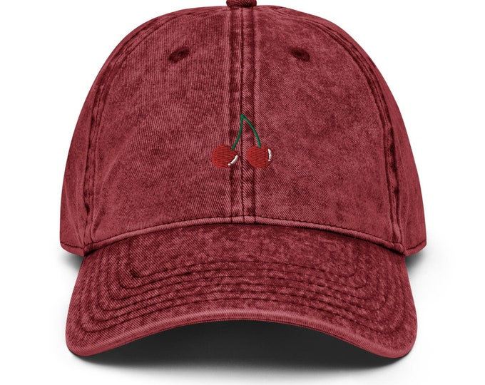 Unisex Vintage Style Cap / Dad Hat / Baseball Cap with Embroidered Cherries / Cherries