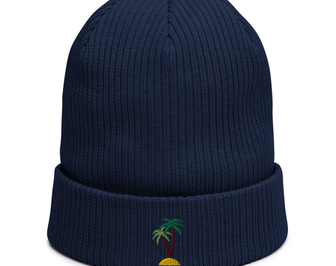 Organic ribbed beanie embroidered with Palm Island
