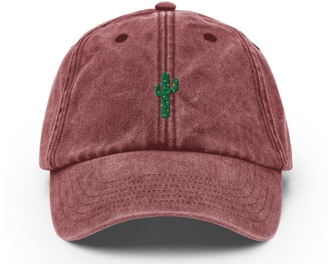 Unisex Vintage Style Cap / Dad Hat / Baseball Cap Embroidered Cactus / Succulent
