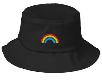 Old School Bucket Hat with embroidered Rainbow