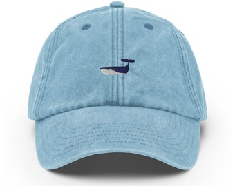 Unisex Vintage Style Cap / Dad Hat / Baseball Cap Embroidered Whale / Whale