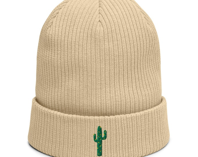 Organic ribbed beanie embroidered with Succulent