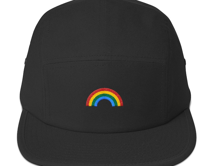 Unisex 5 panel cap / hat with embroidered rainbow