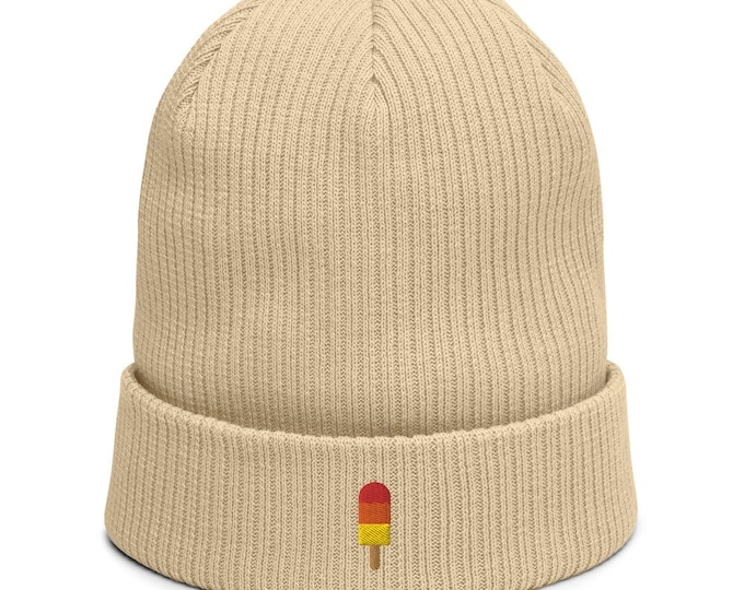 Organic ribbed beanie embroidered with Popsicle