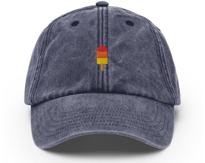 Unisex Vintage Style Cap / Dad Hat / Baseball Cap Embroidered with Ice / Popsicle