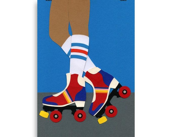 Poster Art Print Illustration - 70s Roller Girl Rosi Feist