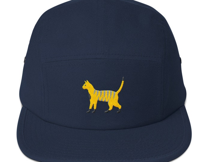 Unisex 5 panel cap / hat with embroidered house cat