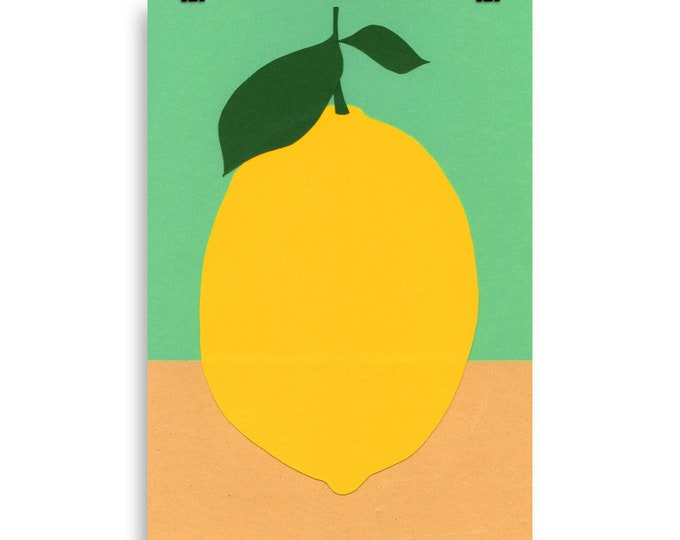 Poster Art Print Illustration – Lemon With Two Leaves Rosi Feist