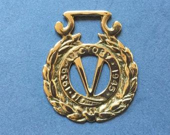 Victory Horse Brass, V for Victory, Vintage Horse Brass, Second World War Antique