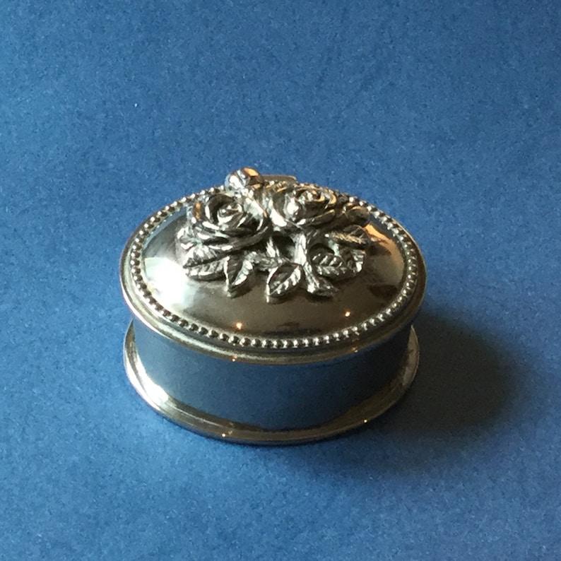 Silver Tone Trinket Box Rose Design Vintage Oval Trinket Box
