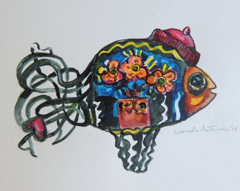"Wire Fish Gets Its ""Maudie ""Hat on!!!  Original design print of.. Folk Artist Maud Lewis translation of her style."
