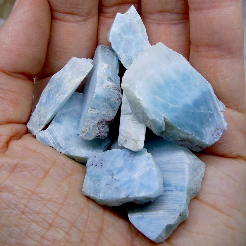 Dominican Republic FREE WORLDWIDE DELIVERY 3335 15g 11 x Larimar Cabochons Sea Beach Polished Larimar Baby Blue Natural Colour