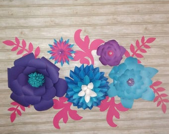 Paper flowers, wall decor