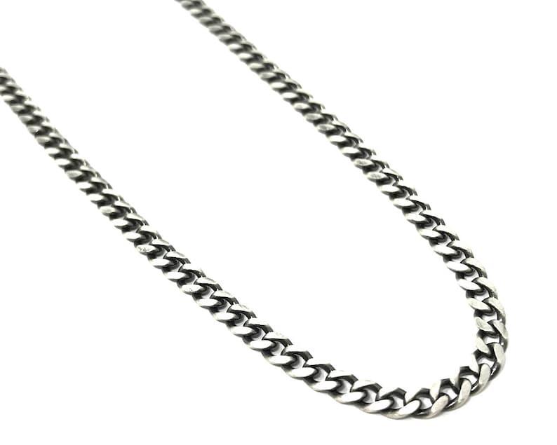 Men\u2019s Oxidised Sterling Silver Curb Link Chain Necklace \u2013 51CM