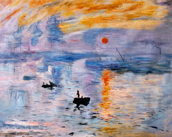83e6e981637f1 Impression, Sunrise Oil Painting Reproduction Rolled Linen Canvas by Claude  Monet