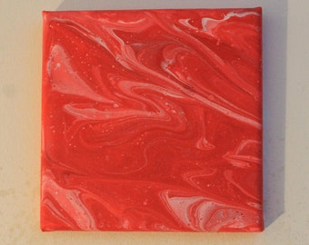 Square Red and white pour art 15cm x 15cm (Part 1 of 3)