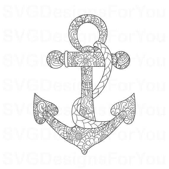 Sale Zentangle Anchor Svg Design Mandala Nautical Anchor Etsy