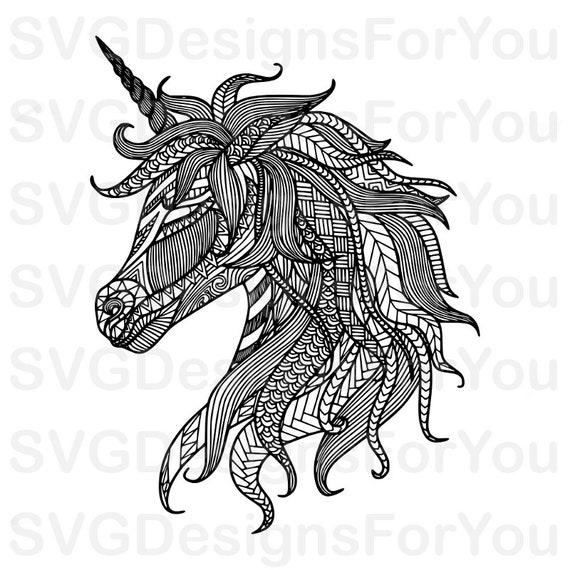 Sale Zentangle Unicorn SVG Design
