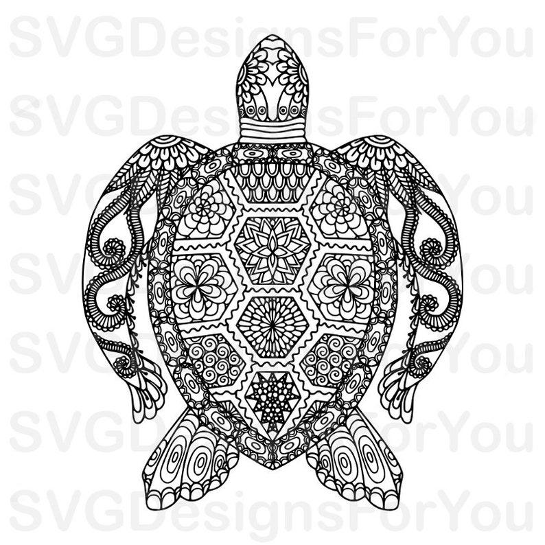 Ausverkauf Zentangle Sea Turtle Svg Design Mandala Sea Etsy