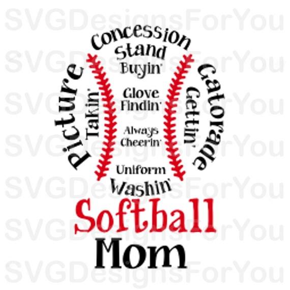 Mom Softball svg Mama team tshirt Printable Clipart svg Dxf Cricut Digital Download Softball Mom SVG Softball svg