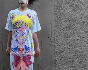 T-Shirt - hand painted - Sailor Moon - ( Scary Moon)