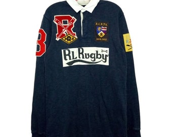 ebad742f T Shirt Collar Long Sleeve Ralph Lauren Rugby FC Half Button M Size