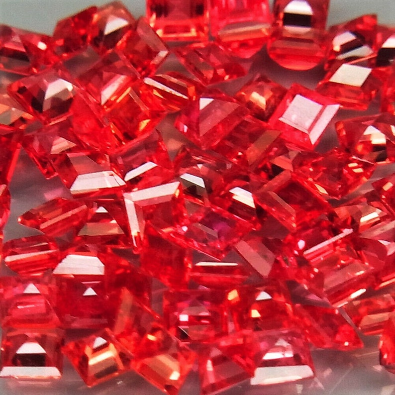 from Songea Tanzania Imperial red Sapphire gemstones Square cut 65 pcs 3.66ct.