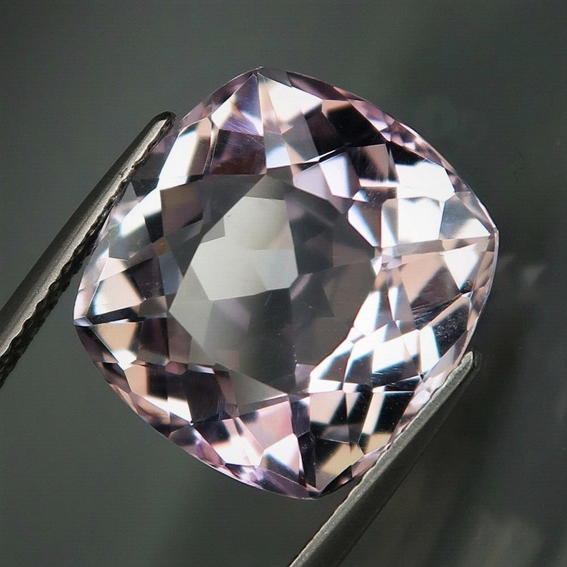none treatment 10.98 ct faceted Big Amethyst gemstone with full fire from Bolivia classic cushion