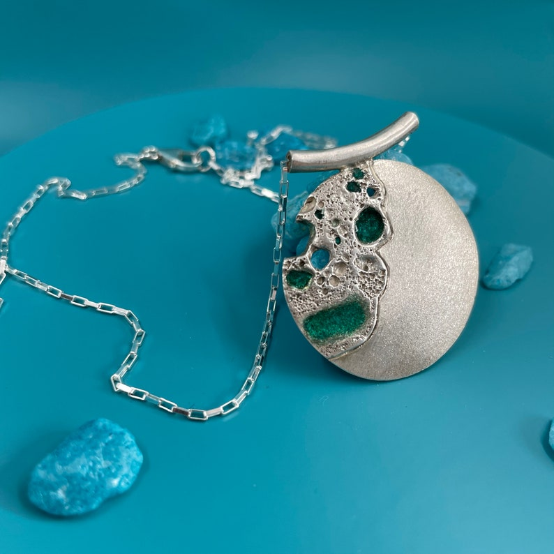 One of a kind To the Moon and back Silver Moon Necklace with blue accents