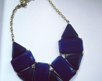 Blue Geometric Statement Necklace