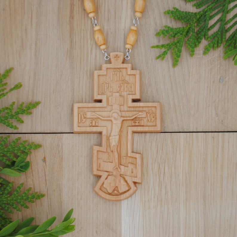 Wooden Orthodox Pectoral Cross For Priest Free Shipping